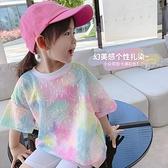 女童T恤 女童夏裝新款兒童半袖寶寶T恤小童洋氣上衣親子女孩短袖打底衫薄【快速出貨】