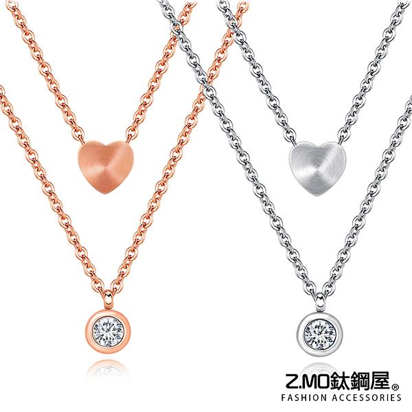 白鋼項鍊 雙層愛心形鑲鑽項鍊 閨蜜禮物 甜美項鍊 短款鎖骨項鏈 單條價【AKS1348】Z.MO鈦鋼屋