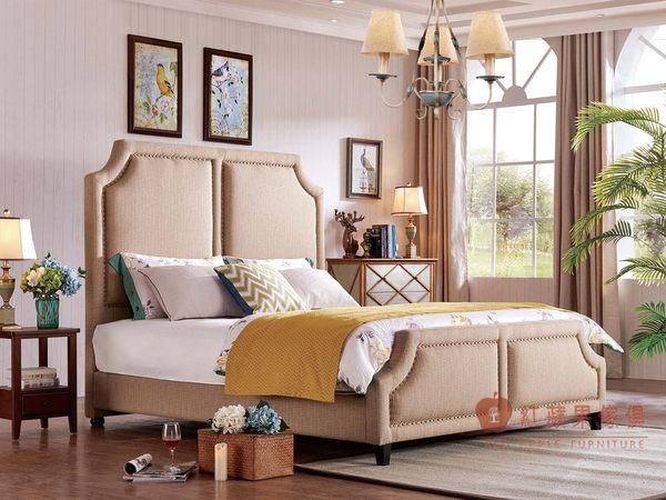 [紅蘋果傢俱] SA112 新美式鄉村風 歐式床 沙發床 床組 六尺床 床架 床台 雙人床 床頭櫃 工廠直營