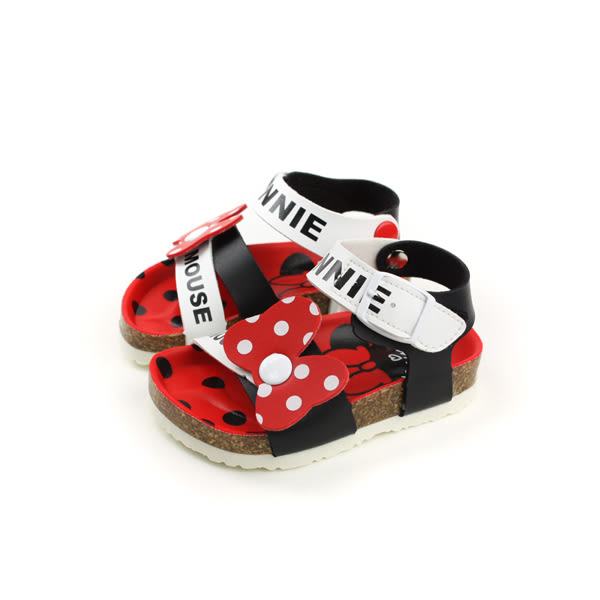 Disney Minnie Mouse 迪士尼 米妮  涼鞋 魔鬼氈 大蝴蝶結 白紅黑 小童 D117255 no078