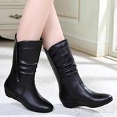 歐美版 百麗秋冬季坡跟中筒靴真皮女靴中跟低跟短靴女鞋 【快速出貨】
