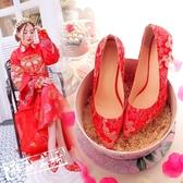 結婚鞋高跟鞋 中式婚鞋紅色龍鳳繡花婚鞋傳統旗袍裙褂秀禾服新娘結婚鞋粗跟女鞋 鉅惠85折