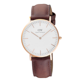 Daniel Wellington Andrews經典時尚皮帶女錶-玫瑰金框x咖啡