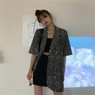 港風豹紋短袖西裝外套女夏薄款2020新款寬鬆休閒中長款小西服上衣 韓國時尚週