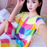 睡衣女春夏棉綢短袖薄款家居服韓版可愛女士綿綢加大碼人造棉套裝