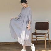 亞麻洋裝-泡泡袖寬鬆圓領輕薄雙層女連身裙74ba12[巴黎精品]