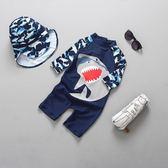 新品韓國兒童連體鯊魚泳衣可愛男童小童寶寶防曬沖浪服泳衣褲套裝
