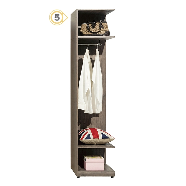 【森可家居】亞力士1.5尺轉角開放衣櫃(編號5) 8ZX347-6 衣櫥 北歐工業風 系統式設計 可隨意配置