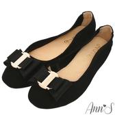 Ann'S甜蜜物語-立體雙層蝴蝶結全真皮平底娃娃鞋-黑