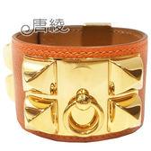 【Hermes 愛馬仕】金屬鉚釘Epsom小牛皮寬版手環(橘x金)