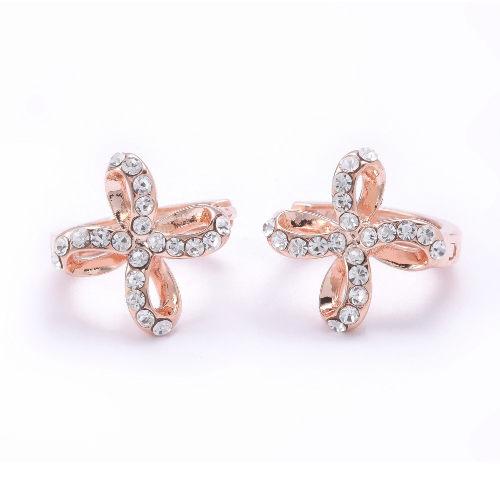 Sassy Ones時尚飾品 -摩登輕流行 鑲鑽紐結十字造型耳環-玫瑰金色