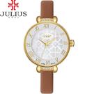 JULIUS 聚利時 雪花紛飛水鑽皮帶腕錶-駝色/29mm 【JA-869C】
