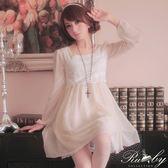 洋裝 水玉點點蕾絲雪紡長袖洋裝-Ruby s 露比午茶