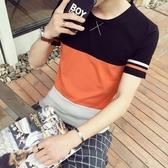 短袖T恤 純棉-時尚撞色拼接舒適男上衣2色73ms6【巴黎精品】