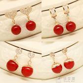 韓版可愛蝴蝶結水鑽耳釘耳環女韓國時尚紅色珍珠耳釘耳    俏女孩