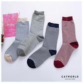 Catworld 細條配色棉質長襪【18900174】‧F