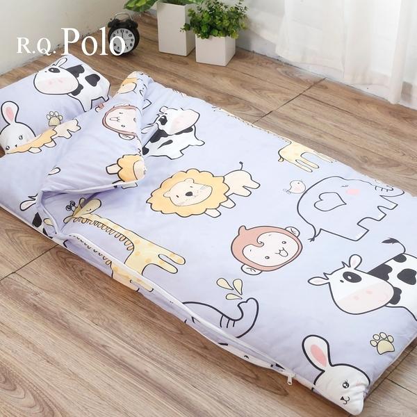 【R.Q.POLO】絲棉柔兒童睡袋 冬夏兩用鋪棉書包睡袋4.5X5尺(歡樂牧場)