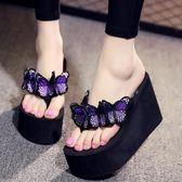 夏季新款拖鞋女韓版手工蝴蝶花人字拖LJ3587『miss洛羽』