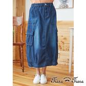 【Tiara Tiara】百貨同步aw 造型口袋花苞牛仔裙(藍)