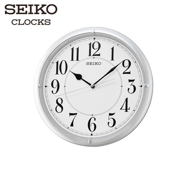 SEIKO 精工掛鐘 銀框白面大數字掛鐘 家用辦公室用 靜音滑動秒針掛鐘 31cm 公司貨 QXA637S | 名人鐘錶