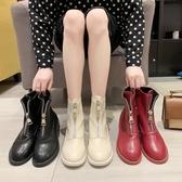短靴女春秋新款靴子女中跟粗跟網紅前拉錬英倫風馬丁靴女單靴 新年禮物