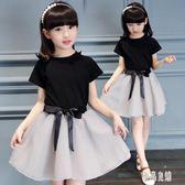 女童套裝 夏季新款2019女童套裝短袖裙子兩件套韓版大童女裝夏裝 LJ1841【優品良鋪】