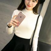 半高領毛衣女士秋冬裝新款2018黑白色長袖上衣修身緊身針織打底衫 居享優品