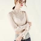 壓褶滾邊雪紡衫長袖內搭透視性感仙氣上衣(S-2XL可選)/設計家 AL28906