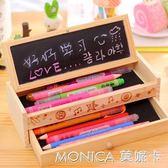 筆袋筆盒 創意可愛鉛筆盒 多功能木制DIY小黑板抽屜文具盒 學生木質收納盒 莫妮卡小屋