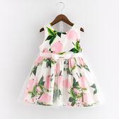 衣童趣♥韓版女童 夏日水果 甜美洋裝 無袖蝴蝶結氣質款 公主裙 外出百搭休閒款連身裙