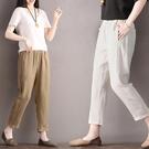 九分褲 棉麻褲女夏裝胖mm新款寬鬆大碼直筒休閒顯瘦鬆緊腰哈倫亞麻九分褲