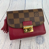 BRAND楓月 LOUIS VUITTON 路易威登 LV N60216 紅拚皮 經典 棋盤格 三折短夾 錢包 零錢包