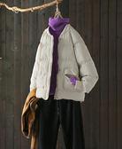 單色螺紋棒球領寬鬆棉衣棉服外套/設計家Y7991