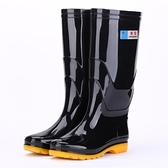 雨鞋 夏季雨鞋黑色牛筋底男廚房水靴高筒防滑耐磨水鞋工地勞保鞋雨靴