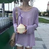 韓版簡約夏季純色百搭寬鬆上衣女夏季薄款微透防曬空調衫女長袖T     芊惠衣屋