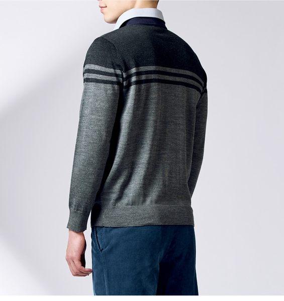 Christian 時尚型男款假兩件毛衣_黑灰(VW731-85)