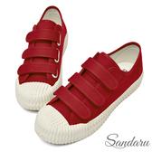 訂製鞋 魔鬼氈車線帆布餅乾鞋-紅色下單區