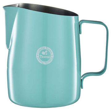 金時代書香咖啡 TIAMO 斜口拉花杯 450cc - 尖口 蒂芬妮藍 HC7107TB