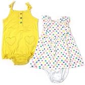 Carter s卡特 背心無袖洋裝+細肩兔裝 三件組 黃點點 | 女寶寶套裝(嬰幼兒/兒童/小孩)