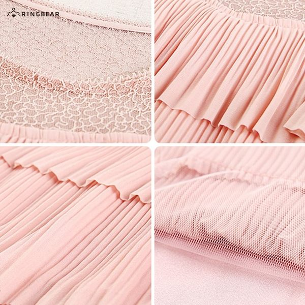 洋裝--氣質優雅透視網紗拚接百褶雪紡多層蛋糕連身裙(黑.粉L-3L)-D544眼圈熊中大尺碼◎