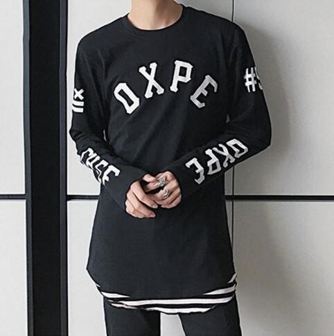FINDSENSE品牌 時尚潮流 男 寬鬆 純棉 字母印花 長袖T恤 字母T 圖