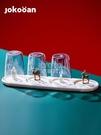 家用創意瀝水杯架客廳北歐玻璃水杯收納置物架放杯子托盤茶杯 【快速出貨】