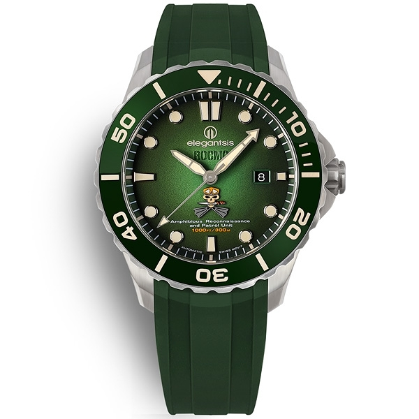 elegantsis / ELJX65AS-ROCMC-ARP / 海軍陸戰隊兩棲 機械錶 鈦金屬 防水300米 矽膠手錶 綠色 44mm