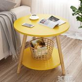小桌子 代簡約客廳實木腿茶台茶桌大理石紋家用圓形小茶幾 時尚芭莎WD