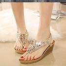 鑲鉆串珠水鉆夾腳坡跟厚底涼鞋
