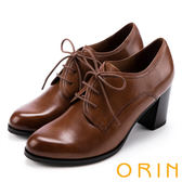 ORIN 漫步英倫街頭 牛津皮料縫線綁帶粗跟踝靴-棕色