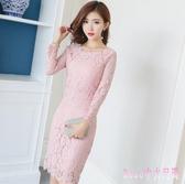 秋季洋裝新款修身長袖鏤空蕾絲連身裙女顯瘦中長款內搭包臀打底裙 XN4262【Rose中大尺碼】