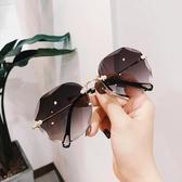 歐美切邊新款無框太陽鏡大框個性網紅明星款蛤蟆鏡墨鏡女眼鏡 polygirl