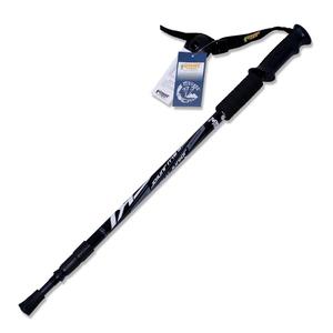【PUSH! 戶外休閒登山用品】航空鋁合金鎢鋼杖尖三節調整式登山杖P63-1黑色