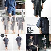 日本春夏季男士和服日式純棉短袖睡衣套裝日系汗蒸浴衣甚平 生活樂事館